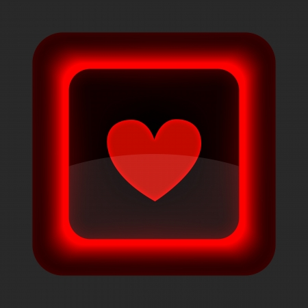 Red glossy web button with heart sign. Rounded square shape icon on gray background. Vector