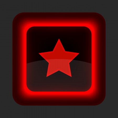 inet: Red glossy web button with star sign. Rounded square shape icon on gray background Illustration