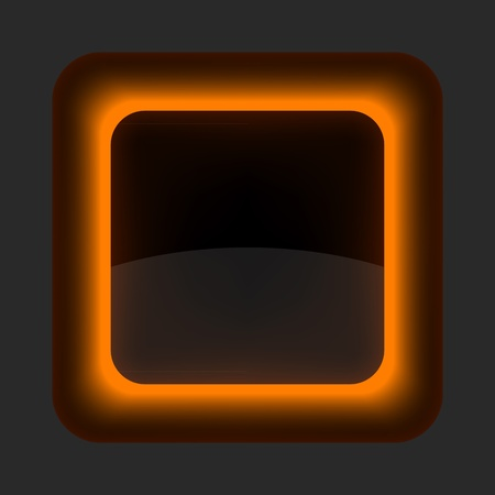 regular tetragon: Orange glossy blank internet button. Rounded square shape icon on gray background Illustration