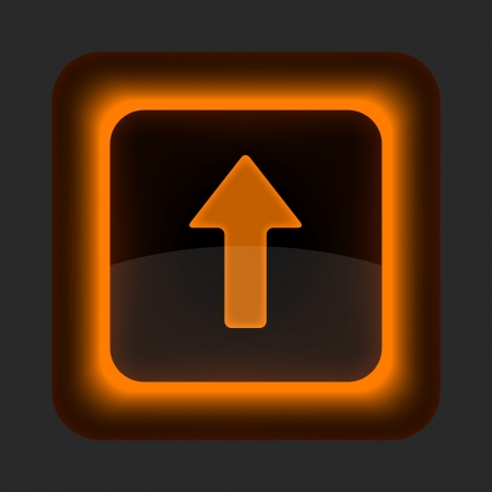 aloft: Orange glossy internet button with arrow upload symbol. Rounded square shape icon on gray background