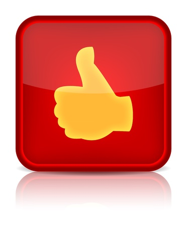 shiny buttons: Red web button with best choice sign. Rounded square shape icon on white background Illustration