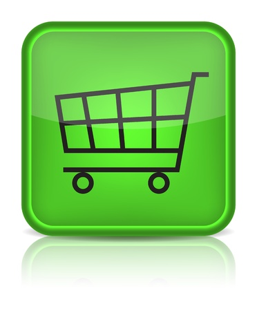 Green glossy web button with shopping cart sign. Rounded square shape icon on white background Vector