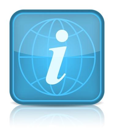 forme carre: Bouton bleu web brillant avec panneau d'information. Arrondi ic�ne de la forme carr� sur fond blanc. 10 eps Illustration
