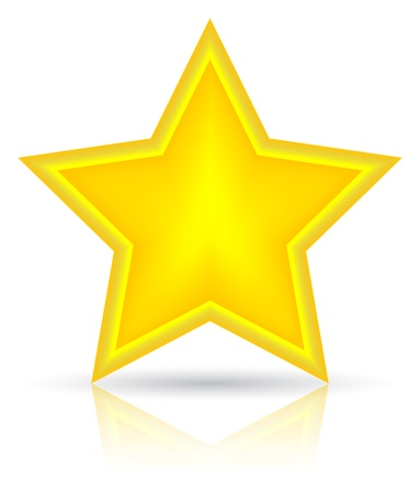 Golden star vector illustration. Icon on white background