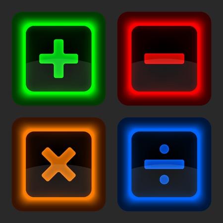 simbolos matematicos: Botón de web de color con símbolos matemáticos redondeado icono de forma cuadrada en fondo gris 10 eps Vectores
