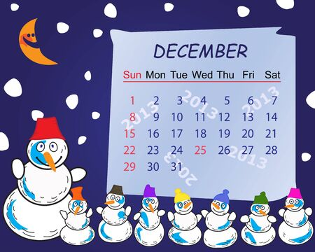 Calendar for the month of december 2013 Stock Vector - 15117414