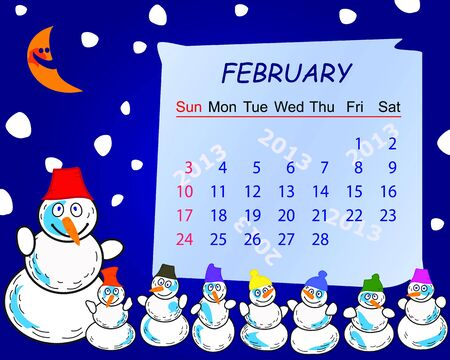 Calendar for the month of february 2013 Vector