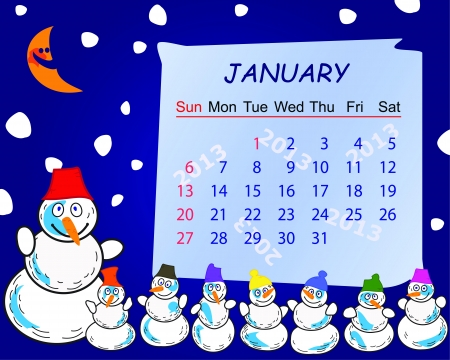 Calendar for the month of january 2013 Stock Vector - 15117412