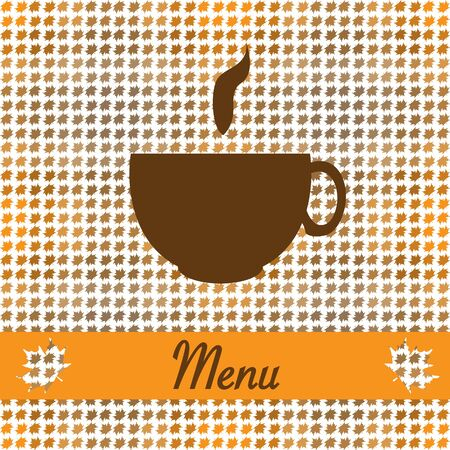 Autumn card for restaurant menu, with tea cup vector illustration Vector