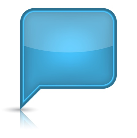 word balloon: Blue glossy empty speech bubble web button icon  Rounded rectangle shape with black shadow and reflection on white background