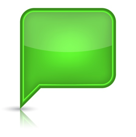 Green glossy empty speech bubble web button icon  Rounded rectangle shape with black shadow and reflection on white background  Vector