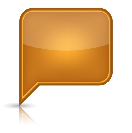 inet: Orange glossy empty speech bubble web button icon  Rounded rectangle shape with black shadow and reflection on white background