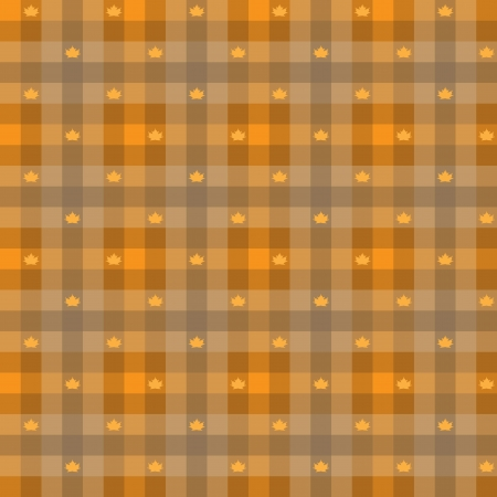 vector - Leaf maple   Gingham Seamless Pattern  Old fashioned design in orange color Vector