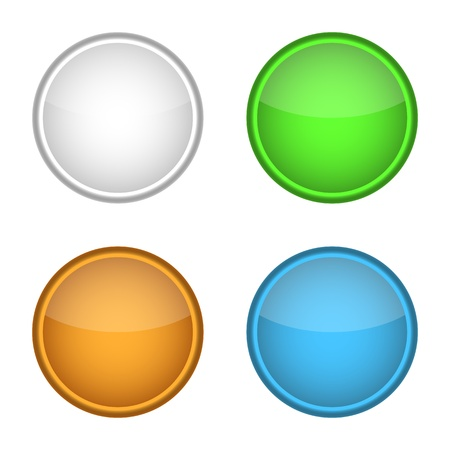 3d circle: blank badge template illustration - four colors