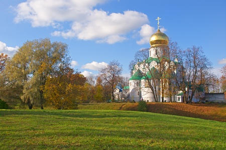 Fedorovsky cathedral in Pushkin, Russia  Autumnal landscape Stock Photo - 15481394