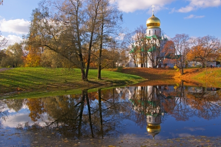 russian church: Fedorovsky cathedral in Pushkin, Russia  Autumnal landscape