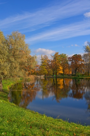 View on autumn landscape of river and trees in sunny day Stock Photo - 15481396