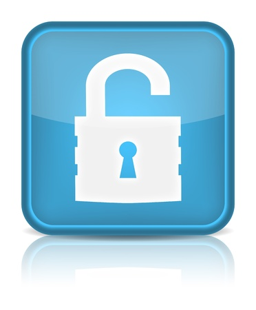 private security: Unlock icon  Sign with reflection isolated on white  Vector illustration Illustration