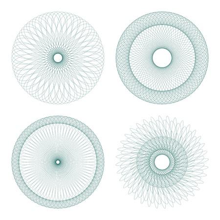escarapelas: Conjunto de vector de l�neas entrecruzadas rosetas certificado o diplomas, elementos decorativos