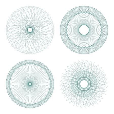 Set von Vektor Guilloche Rosetten Zertifikat oder Diplome, dekorative Elemente