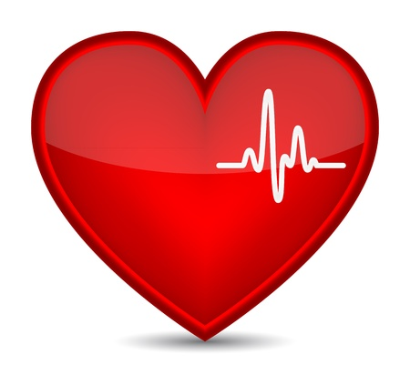 heartbeat: Cardiogram on red heart shape. Vector illustration