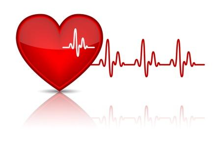 Illustrazione di cuore con l'illustrazione elettrocardiogramma battito cardiaco, Vector Vettoriali