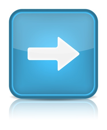 directional arrow: Blue glossy web button with arrow right sign  Rounded square shape icon on white background