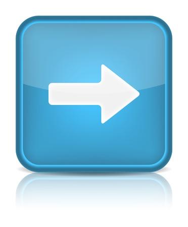 arrow right: Tasto blu web lucido con freccia a destra segno arrotondato icona quadrata forma su sfondo bianco