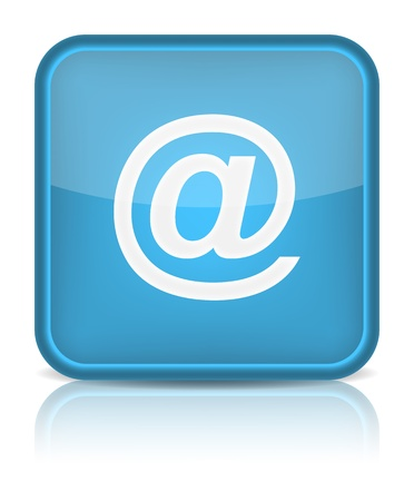 inet: Blue glossy web button with blue at sign  Rounded square shape icon on white background Illustration