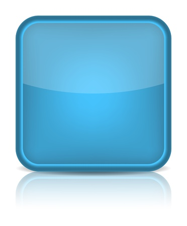 Blue glossy blank internet button  Rounded square shape icon on white background