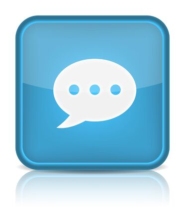 Blue glossy web button with chat room sign  Rounded square shape icon on white background   Vector
