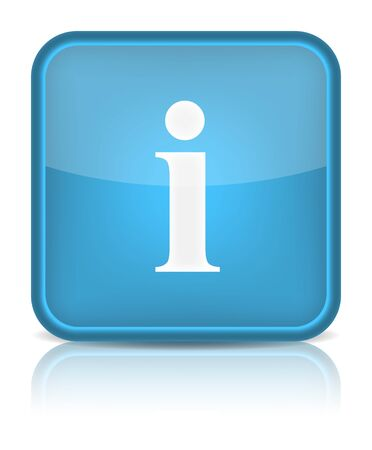 inet: Blue glossy web button with information sign  Rounded square shape icon on white background