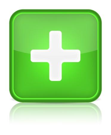 ajouter: Bouton vert web brillant avec signe plus arrondie icône de forme carré sur fond blanc
