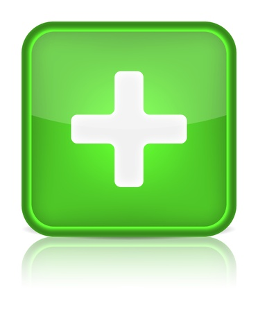 Green glossy web button with addition sign Rounded square shape icon on white background