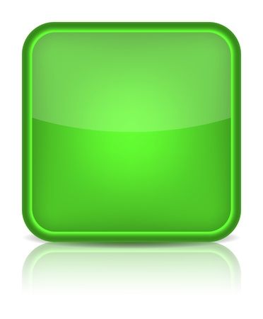 Green glossy blank internet button  Rounded square shape icon on white background   Vector