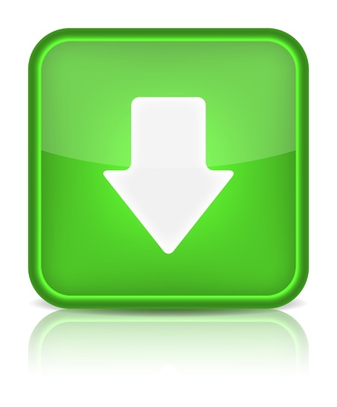 inet: Green glossy internet button with download arrow sign  Rounded square shape icon on white background