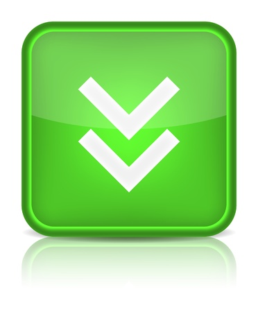 Green glossy internet button with download arrow sign  Rounded square shape icon on white background   Vector
