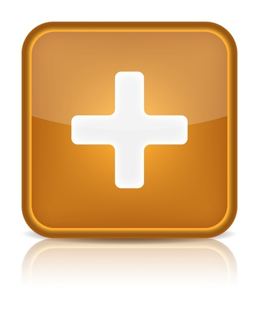 Orange glossy web button with addition sign  Rounded square shape icon on white background  Vector