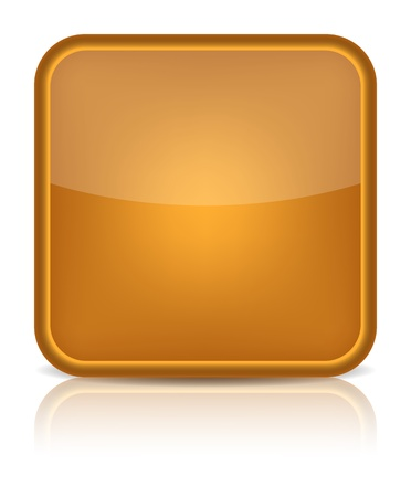 inet: Orange glossy blank internet button  Rounded square shape icon on white background