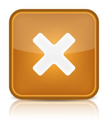 multiplicar: Botón naranja brillante con signo web delete redondeado icono de forma cuadrada en fondo blanco