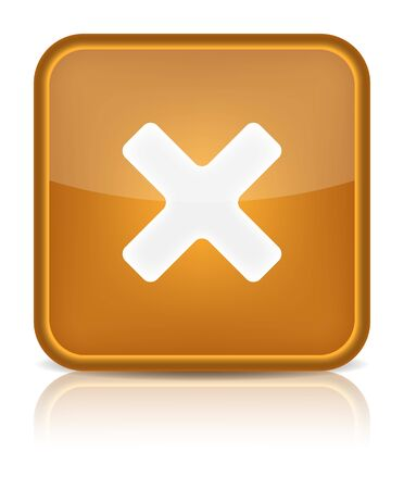 abort: Orange glossy web button with delete sign  Rounded square shape icon on white background   Illustration