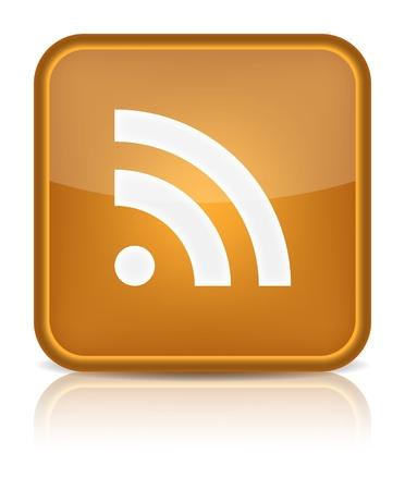 Orange glänzend Web-Taste mit RSS Zeichen Abgerundete quadratische Form Symbol auf weißem Hintergrund