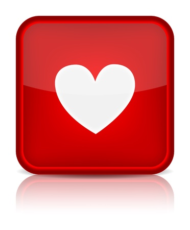 top menu: Red glossy web button with heart sign  Rounded square shape icon on white background
