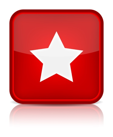 inet: Red glossy web button with star sign  Rounded square shape icon on white background