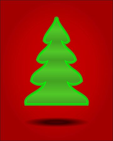Green origami Christmas tree on red background  Vector illustration Stock Vector - 15481322