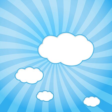 Abstract web design background with clouds with sun rays  vector illustration  Vector