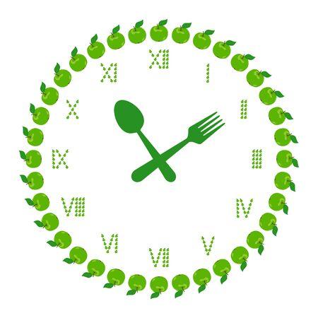 diet time Apfelfrucht im Takt Symbol auf weißem Vektor-Illustration