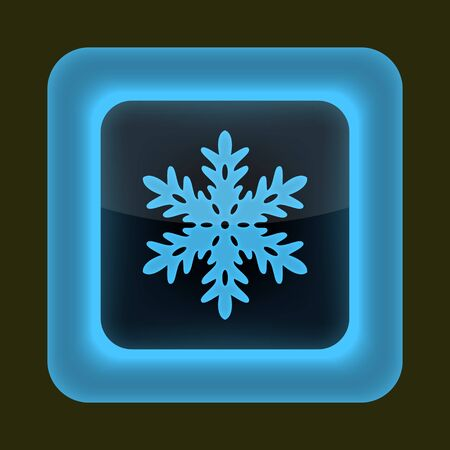 inet: Blue glossy web button with sign snowflake symbol  Rounded square shape on gray background