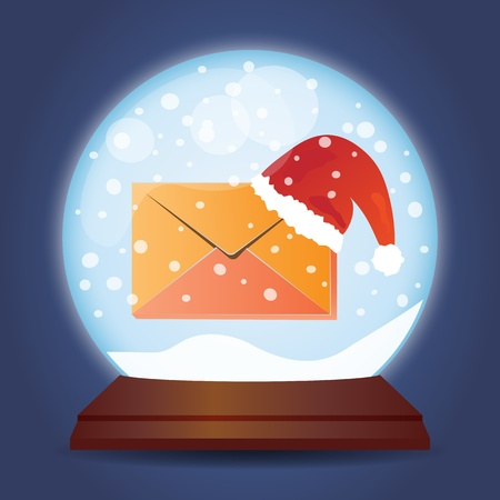 Xmas glass ball with snow Christmas mail Vector
