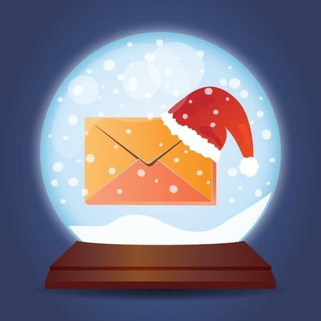 christmas mail: Xmas glass ball with snow Christmas mail Illustration